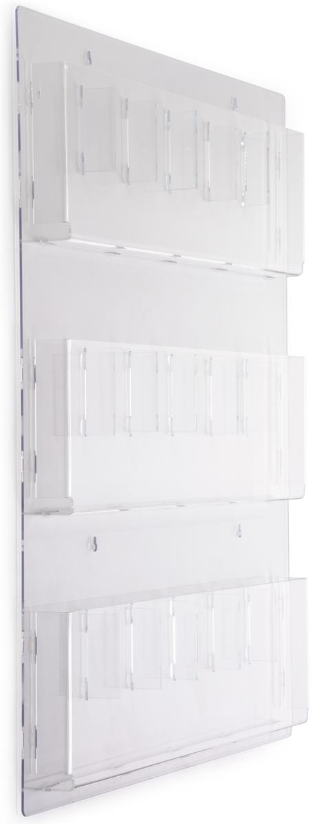 Clear Wall Literature Rack W Adjustable Pocket Design