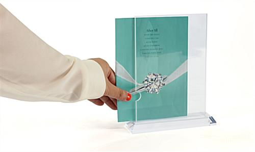 5x7 Acrylic Frame w/ Clear Tapered Base & Top-Loading Design