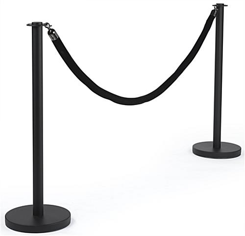 Durable Black Queue Stand with Black Rope