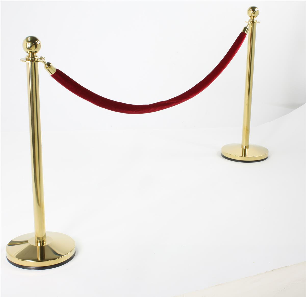 2 Brass Post Stanchions Burgundy Velvet