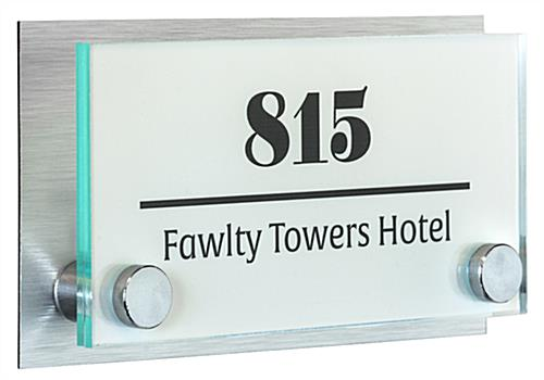 "6"" x 3"" Office Door Sign with Brushed Metal Backing"