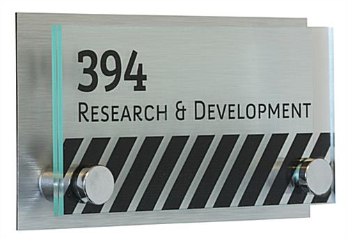 Office Door Sign with Brushed Metal Backing with Mounting Hardware