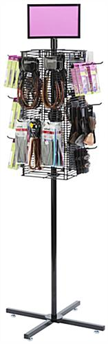 Rotating Grid Rack Propped with Merchandise