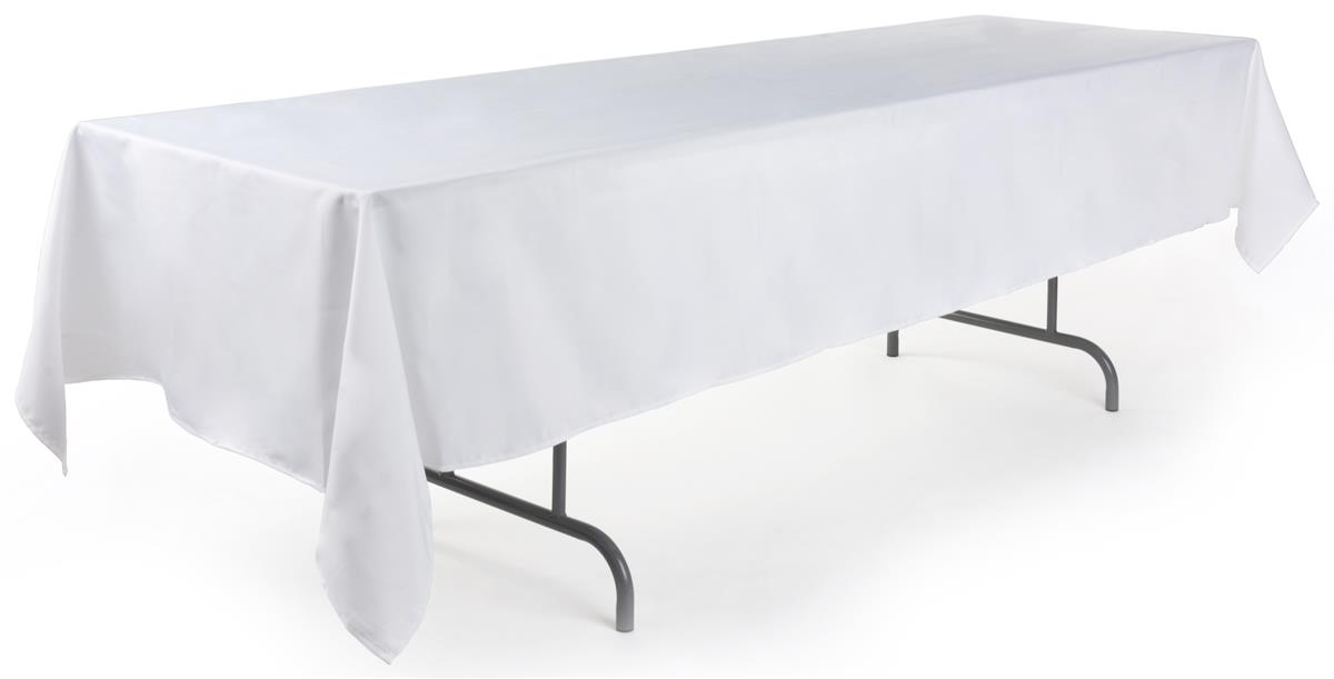 White Rectangular Polyester Tablecloth 126 Quot X 60 Quot