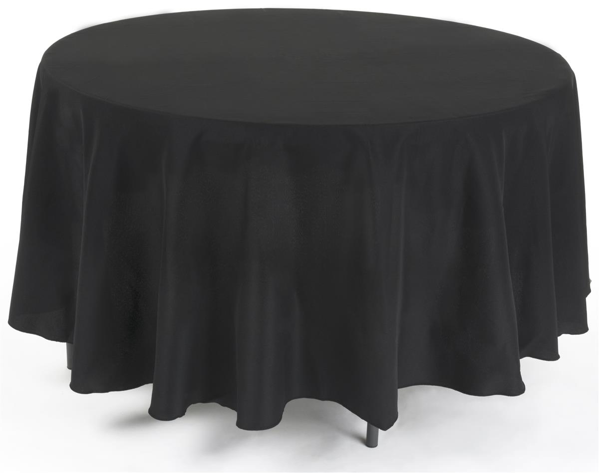 90 Round Table Cloth Black Polyester Linens
