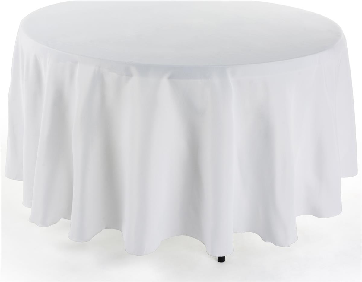 White 90 Round Table Cloth Seat Length On 60 Quot Tables