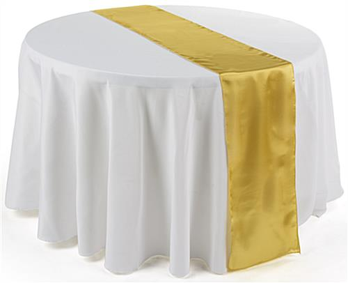 Gold satin table runners 12 x 108 fabric overlays for for 85 inch table runner