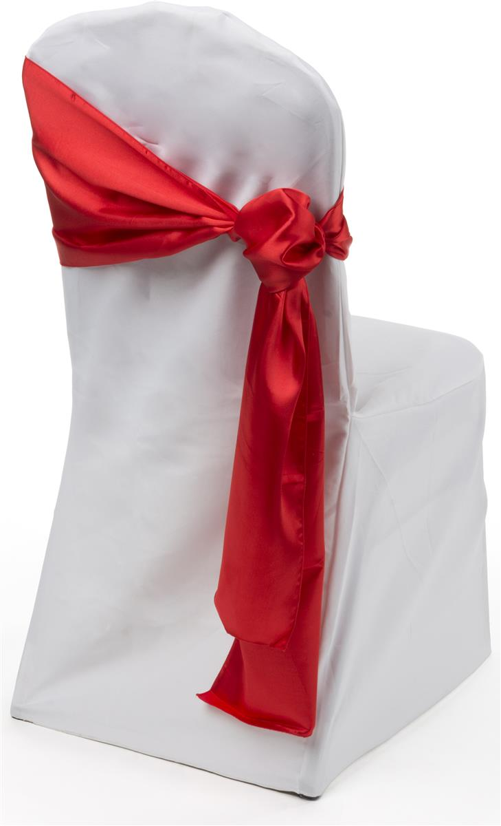 Red Satin Chair Sashes | 12 x 108 Wedding Decor