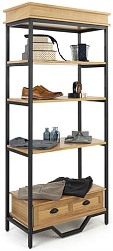 Easy to assemble french industrial bookshelf etagere with powdered coated frame