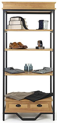 French industrial bookshelf etagere with 13 inch shelf clearance