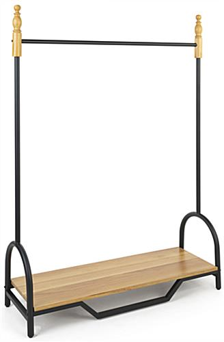Vintage clothes rack for boutique with black powdered coated accents