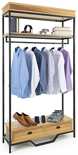 Industrial rustic clothes rack holds up to 220 pounds of merchandise