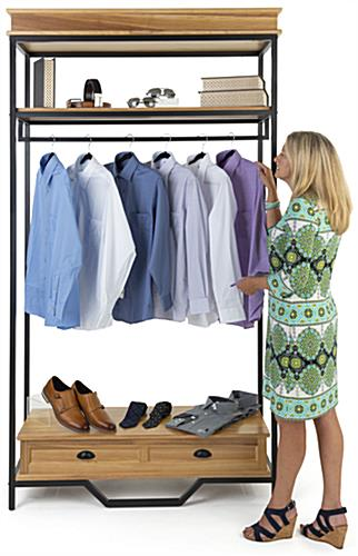 Easy to assemble industrial rustic clothes rack with an overall weight of 83 pounds