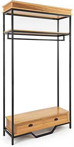 47 inch wide industrial rustic clothes rack with a top shelf clearance of 13 inches