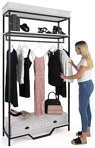 Farmhouse industrial clothing rack with a width of 47.25 inches