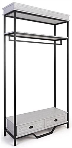 Farmhouse industrial clothing rack with black powder coated frame