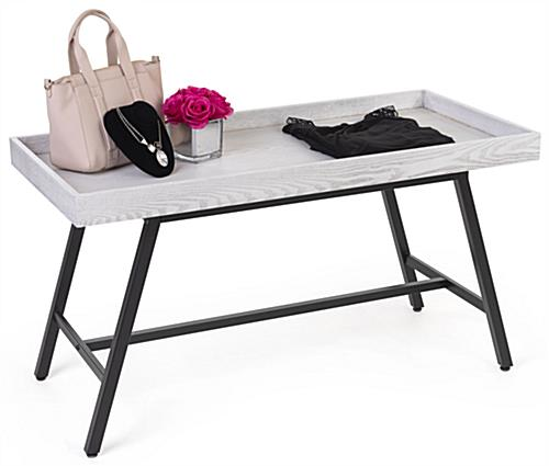 Dump bin table with black metal and whitewash MDF material