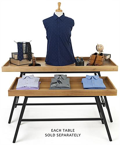Merchandise dump table features a modern and sophisticated design