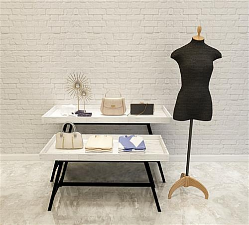 Store dump table provides ample merchandising area