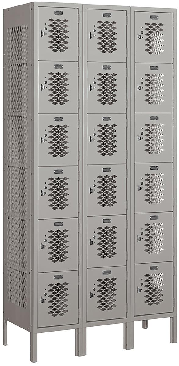 6 Tier Vented Locker Perforated Pattern On Sides And Front