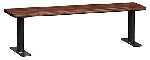 Wood Locker Room Bench | 2 Black Aluminum Pedestals