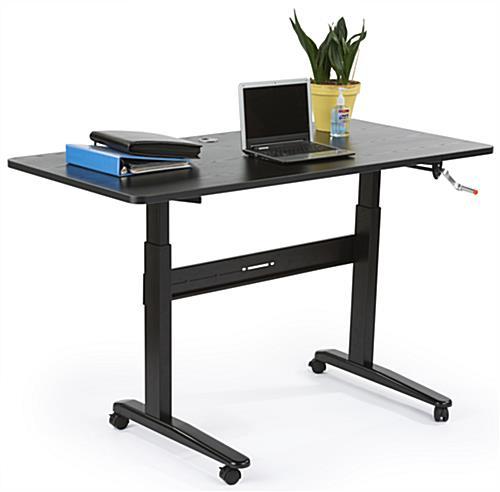 Manual Height Adjustable Desk Black Mdf Amp Steel Construction