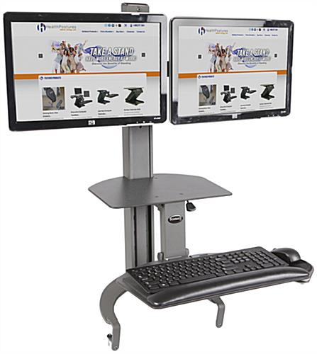 Dual Monitor Sit Stand Desk Mount