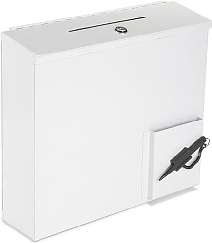 White Donation Box With Paper Holder and Locking Lid