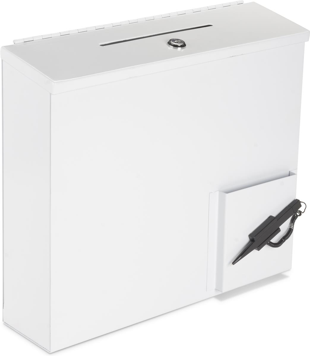 White Donation Box With Paper Holder Wall Mount Or