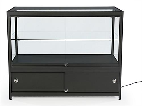 Black Knock Down Display Counter with Slide Open Doors