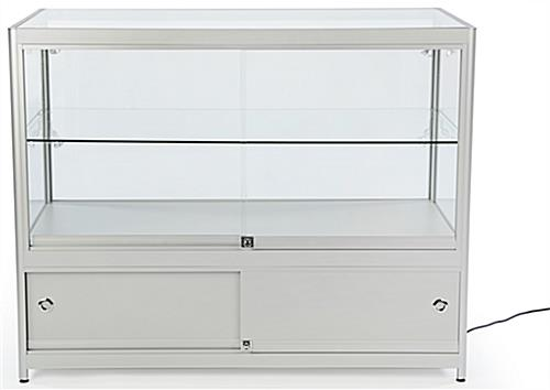 Silver Knock Down Display Counter Rear Slide Open Doors