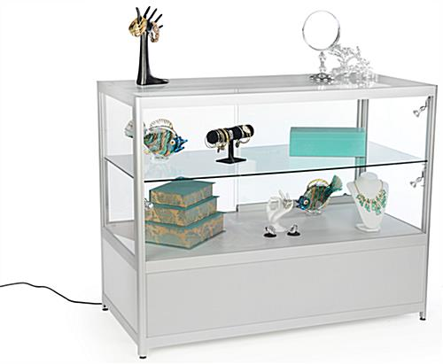 Propped Silver Knock Down Display Counter