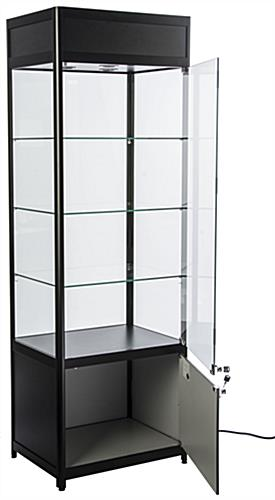 Knock Down Tower Display Case Hinged Doors