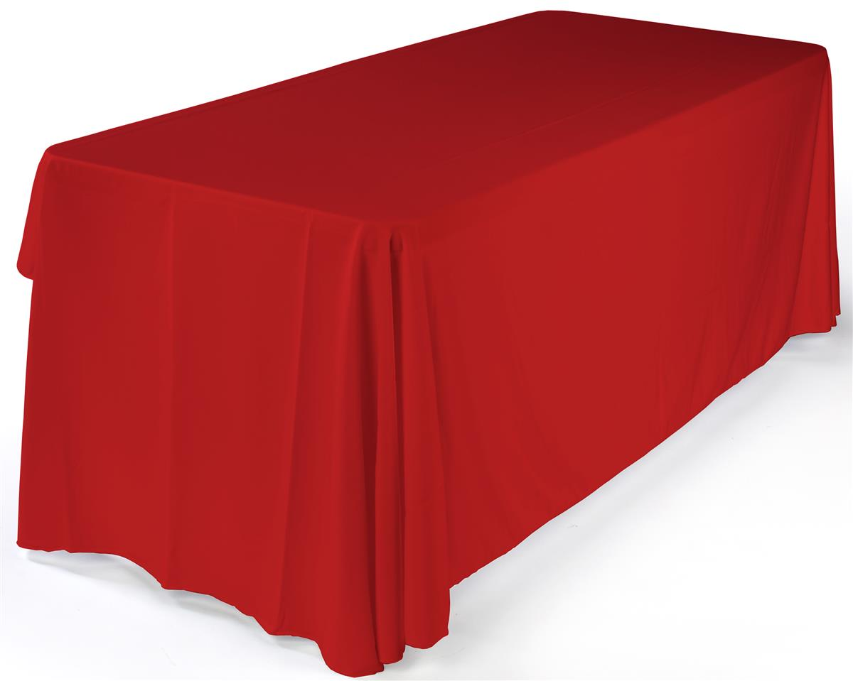 Red Table Cover Provides 3 Sides Coverage Used For 6 X30
