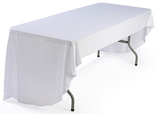 This printed table cover includes a 3 color imprint