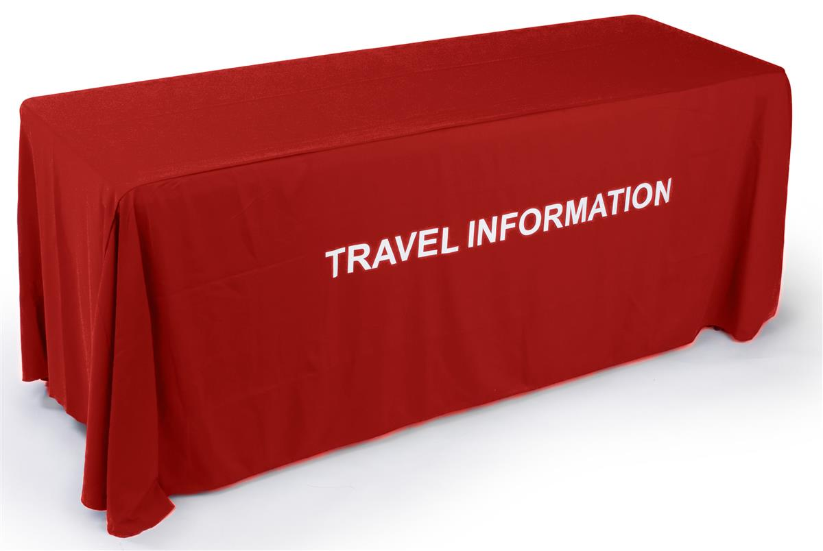 Red Table Cover With 24 Hours Custom Text 4 Full Length Sides