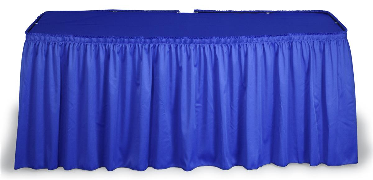 Blue Table Cover Set With Shirred Skirting for 6' & 8' Tables
