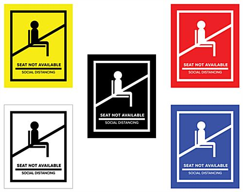 Social distancing seat markers printed with UV technology