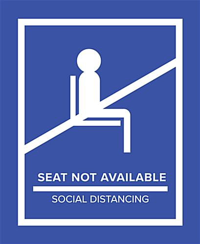 Blue social distancing seat markers for crowd control