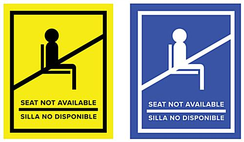 English/Spanish social distancing seat sticker is compatible on multiple surfaces