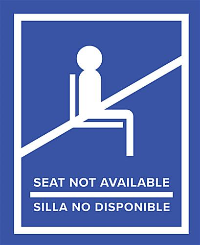 Blue English/Spanish social distancing seat sticker with pre-printed messaging