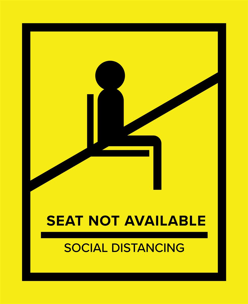 Yellow social distancing seat markers for crowd control