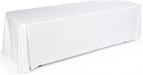 3 sided white table cover fits 8 foot long tables. Black Bedroom Furniture Sets. Home Design Ideas