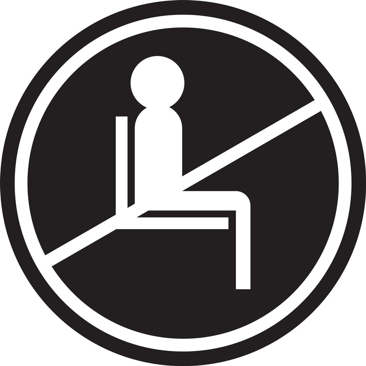 Black do not use seating sticker with removable self-adhesive backing