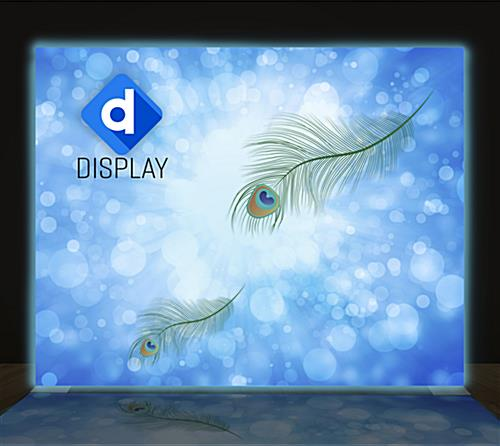 Glow fabric front of 2-sided SEG fabric backlit wall