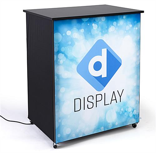 Trade show display kit with LED silicone edge graphic counter