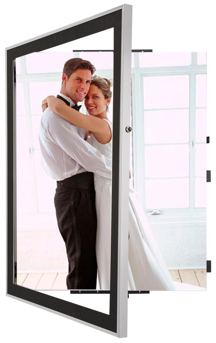 silver poster displays with black matboard locking 22 x 28. Black Bedroom Furniture Sets. Home Design Ideas