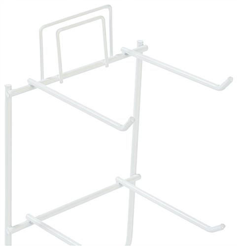 White Keychain Display Rack, Attached Sign Holder