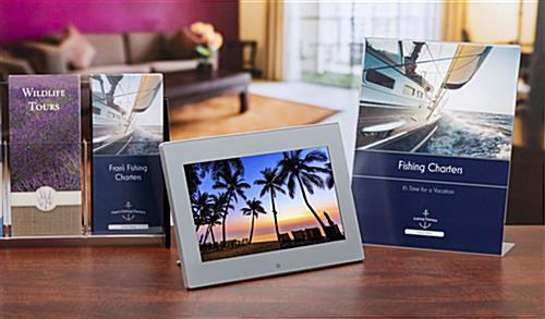 Digital signage countertop display with image display and audio