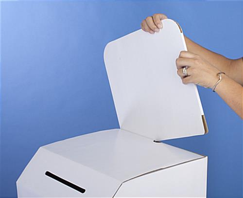 Cardboard ballot box with removable header floorstanding or